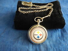PITTSBURGH STEELERS NFL CHROME POCKET WATCH WITH CHAIN (NEW)