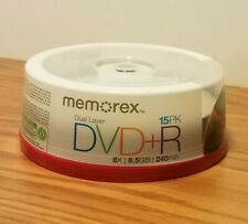 MEMOREX DVD+R DL Double Layer 8.5GB 2.4x 15 pack Dual Layer Blank DVDs RW