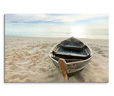 120x80cm Leinwandbild auf Keilrahmen Strand Holzboot Meer Sonnenuntergang