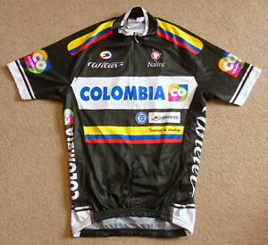 """RIDER-ISSUED COLOMBIA COLDEPORTES PRO TEAM JERSEY NALINI XS 34"""" CIRCUMFERENCE"""