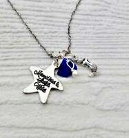 Mermaid kisses and starfish wishes blue sea glass necklace. Sea glass jewellery.