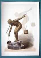 NUDE Bronze Sculpture of Water Carrier Girl - VICTORIAN Era Print