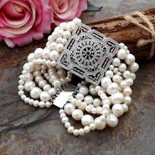 """Ge092412 8"""" 7 Strands White Pearl Bracelet"""