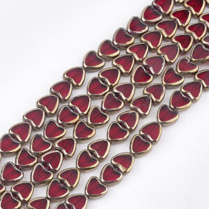 1 Strand Edge Plated Heart Red Electroplate Glass Beads Strands Craft 10x10x4mm