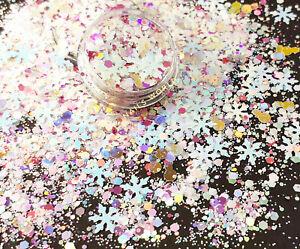 X03. Pink Christmas MIX STAR Snowman Holographic Nail Art Glitter Sequins Xmas