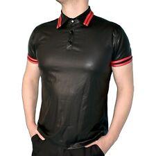 Blando Aspecto de Cuero Camisa Polo Talla S O L con Rayas Vinilo Camiseta Top