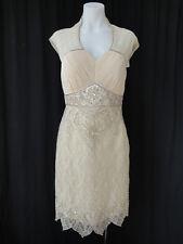 NWT- Sue Wong Nocturne elegant romantic champagne embellished Lace Dress sz 6