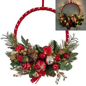 Türkranz Weihnachtskranz mit LED Lichterkette & Timer - Deko Weihnachten Rot 495