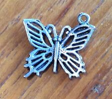 3x Butterfly Rockabily Silver Coloured Craft Charms