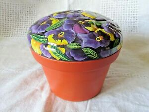Collectable Pansy Plant Pot Tin