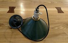 Reclaimed Vintage Industrial Cone/Military Style Metal Porcelain Pendant Light