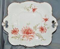 Prunkplatte Tablett Hutschenreuther, Blumendekor, Chrysanthemen, Goldrand, 32 cm