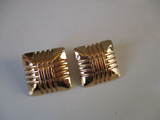 Gold Tone Vintage Monet Clip On Earrings Ex condition Large Square Signed