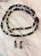 "Chunky Black and White Bead Necklace (17"") Unbranded With Earrings"
