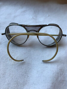 Vintage Bausch & Lomb Safety Glasses Metal Motorcycle Goggles