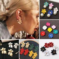 Fashion Women Boho Big Pearl Flowers Ear Stud Earrings Dangle Party Jewelry Gift