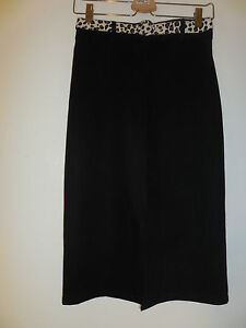 NWT Sz.14 (or Sz. S)  Hip By Wrapper Black Stretch Pencil With front Slit Skirt