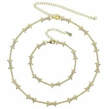 Newly Geometric Bar Barbed Wire Charm Choker Necklace And Bracelet High Quality