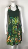 Desigual Women's Dress NWT Pleated Floral Tie Back Sz 38 Small Green Multi