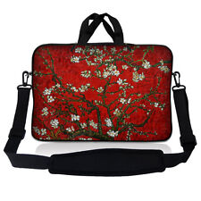 "15.6"" Laptop Sleeve Bag Case w Shoulder Strap HP Dell Asus Acer Red Almond Trees"