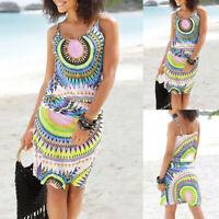 Women Summer Sleeveless Print Sundress Lady Casual Beach Skirt Sling Mini Dress