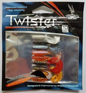 MIKADO ''TWISTER'' FISHING SOFT LURES, PACK OF 10 PCS, 38 MM, MULTICOLOUR, PERCH