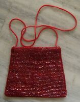 VINTAGE STYLE GLASS BEADS  WORK ON SILK, TOTE SIDE WALKING HAND BAGS #44