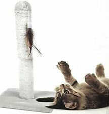 CAT KITTEN TOY FEATHER POST SCRATCH CLAWING CREAM SCRATCHER H49 X W30 X D30CM