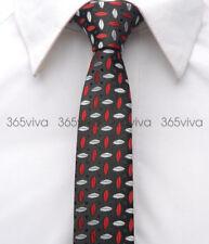 "Black Red White Pattern Skinny Slim Narrow Woven Silk 2"" Wedding Neck Tie JT419"