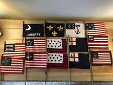 "NOS 14 Mini Flags Civil & Revolutionary War Golden State Display 4""x6"" Cotton"