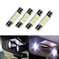 4* White 31mm 3-SMD 5050 LED Bulb For Car Sun Visor Vanity Mirror Fuse Light