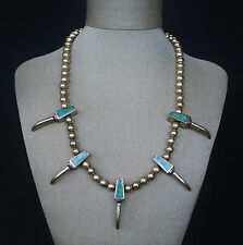 Vintage Native American American Turquoise Sterling Silver Necklace