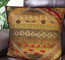 "24"" PURPLE ETHNIC DÉCOR HUGE SARI BEAD MOTI THROW FLOOR BED CUSHION PILLOW COVER"