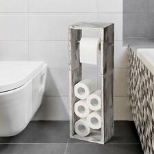 Wood Toilet Tissue Paper Roll Holder Stand Bathroom Paper Storage Dispenser Rack