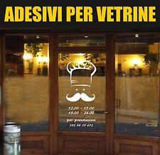 vetrofanie adesivo ristorante chef con orari food vetrine street trattoria bar