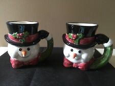 New Listing2 Vintage Oci Omnibus Fitz and Floyd Snowman Mugs