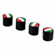 4 x Italian Italy Flag Car Tire Valve Stems Cap Black Universal Stainless Steel