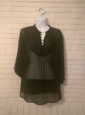 Women's Bay Studio Career Solid Black Semi Sheer Blouse, Size M