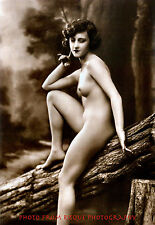 "Nude Woman Sits On Log Photo Print 8.5x11"" Vintage Lovely Naked Female Outdoors"