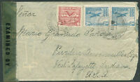 BOLIVIA TO USA Censored Air Mail Cover 1945 VF
