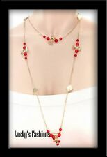 Red Beads Gold Leaf Bows Long Chain NECKLACE