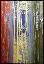 "Paula Crane ""Enchanted"" Signed & Numbered Art Etching blue red trees MAKE OFFER"