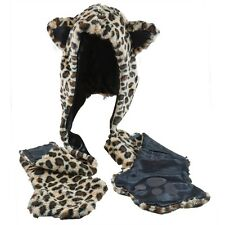 Old Glory - Leopard Head Plush Hat Mittens - Brown