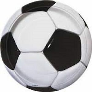 3D Soccer Ball Theme Party Plate 8 Pack 23cm - Ideal for World Cup Parties