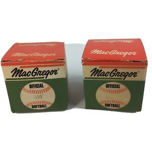 Vintage MacGregor  Official Softball Lot of 2  60s 70s B55 With Original Boxes