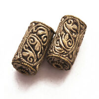 Silver Plated 2 Beads Tube Barrel Tibetan Nepalese Ethnic Handmade Nepal BD3264a