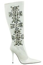 MORI ITALY KNEE HIGH BOOTS STIEFEL STIVALI LEATHER STUDS SILVER WHITE BIANCO 40