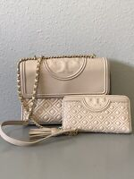 Tory Burch Pink Light Oak Leather Purse And Wallet Matching Set  New Retail $700