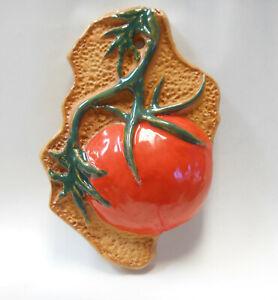 Red TOMATO Vegetable Tile -Handmade Ceramic Wall Decor/ Veggie Garden Row Marker