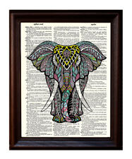 Elephant Zen - Dictionary Art Print Printed On Authentic Vintage Dictionary Book